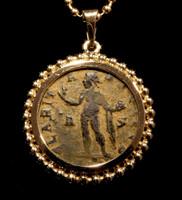 ANCIENT SUN WORSHIPPER ROMAN SUN GOD 'SOL' COIN PENDANT IN 14K GOLD  *CPR221