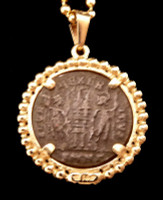 ANCIENT ROMAN COIN PENDANT IN 14K GOLD FEATURING FIRST CHRISTIAN EMPEROR CONSTANTINE  *CPR220