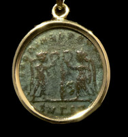 CPR218 - VICTORY ANGELS ANCIENT CHRISTIAN ROMAN COIN IN 14KY PENDANT SETTING