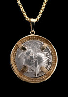 GEMINI TWINS HORSE AND RIDER ROMAN COIN PENDANT WITH DIOSCURI IN 14K GOLD  *CPR229