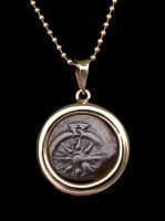 WIDOWS MITE COIN PENDANT IN SMOOTH HIGH POLISHED 14KT GOLD SETTING  *CB04-1