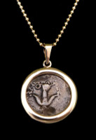 WIDOWS MITE COIN PENDANT IN SMOOTH HIGH POLISHED 14KT GOLD SETTING  *CB04-2