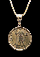 """GLORY OF THE ROMANS"" ANCIENT ROMAN ARCADIUS COIN PENDANT IN 14K GOLD  *CPR235"