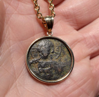 ANCIENT CHRISTIAN JESUS COIN PENDANT WITH ROMAN BYZANTINE FOLLIS IN 14KY GOLD SETTING  *CPB036