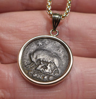 ANCIENT ROME SHE-WOLF SUCKLING ROMULUS AND REMUS ROMAN COIN PENDANT IN 14K GOLD  *CPR232