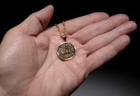ANCIENT CHRISTIAN JESUS COIN PENDANT WITH ROMAN BYZANTINE FOLLIS IN 14KY GOLD  *CPB034