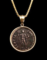 """GLORY OF THE ROMANS"" ANCIENT ROMAN VALENTINIAN COIN PENDANT IN 14K GOLD  *CPR231"