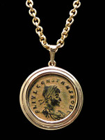 CONSTANTINE ANCIENT ROMAN COIN 14K GOLD PENDANT WITH BRIGHT PATINA  *CPR162