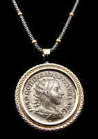 ANCIENT ROMAN IMPERIAL GORDIAN III SILVER ANTONINIANUS COIN PENDANT IN 14K GOLD  *CPR150