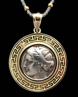 CPG027 - ANCIENT GREEK NYMPH SILVER COIN PENDANT