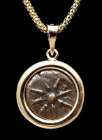 CB04 - WIDOW'S MITE COIN PENDANT WITH SMOOTH HIGH POLISHED 14KT GOLD SETTING