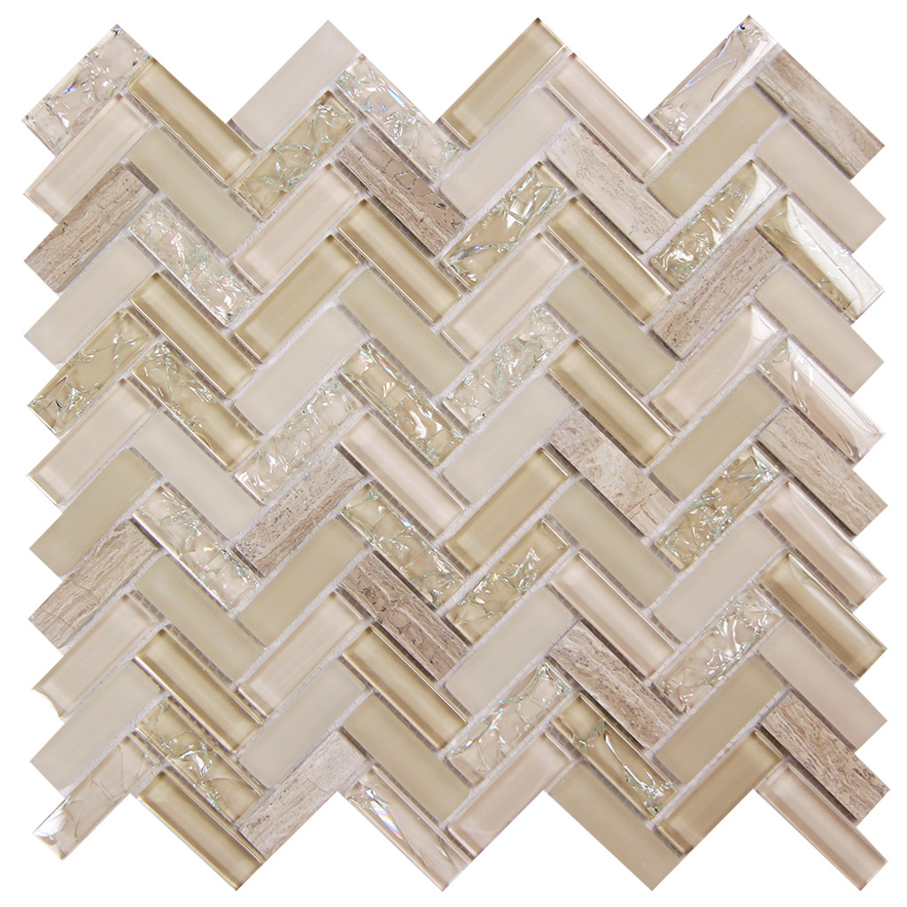 Archery Light Beige Herringbone Mosaic Glass Tile