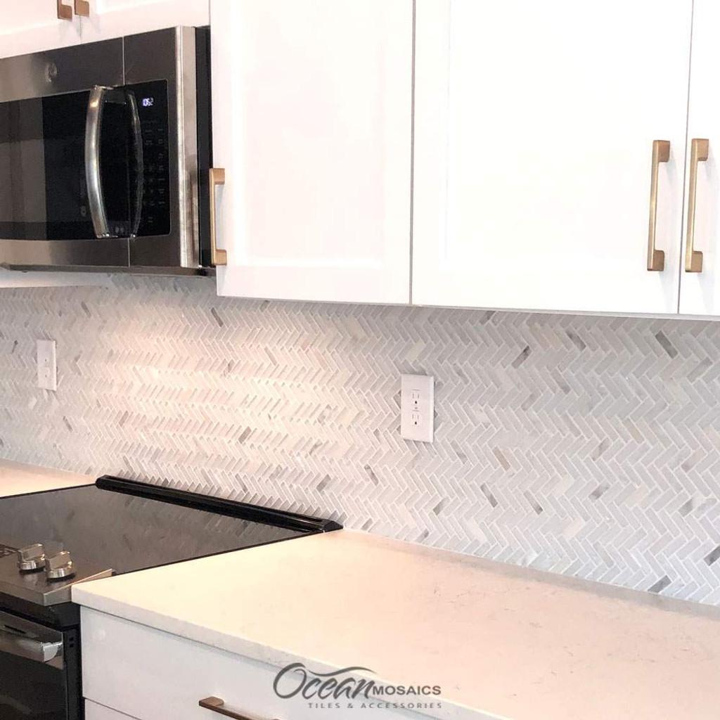 Archery White Oak Herringbone Mosaic Glass Tile Kitchen Backsplash