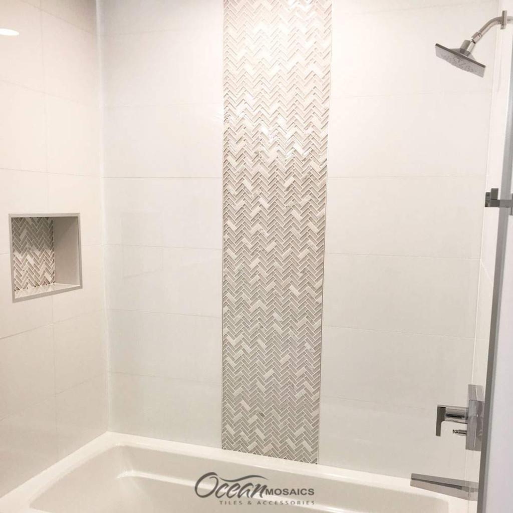 Archery White Oak Herringbone Mosaic Glass Tile Shower Wall