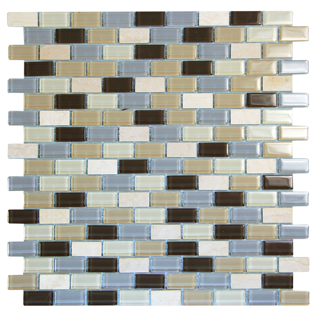 Basic Cross Beige Mosaic Glass Tile