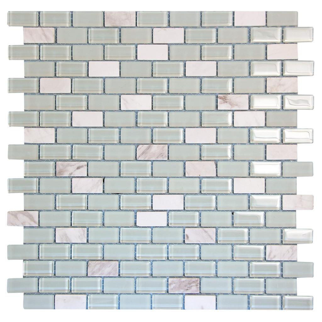 Basic Cross White Mosaic Glass Tile