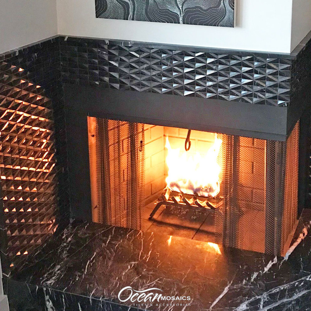 Diamond Marquina Geometric Marble Tile For Fireplace