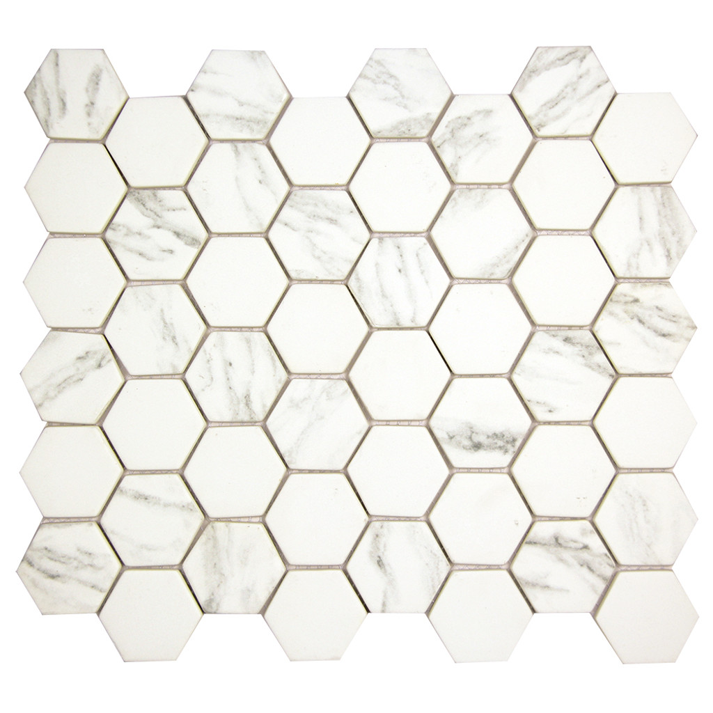 Hexacycle Carrara Hexagon Recycled Glass Tile