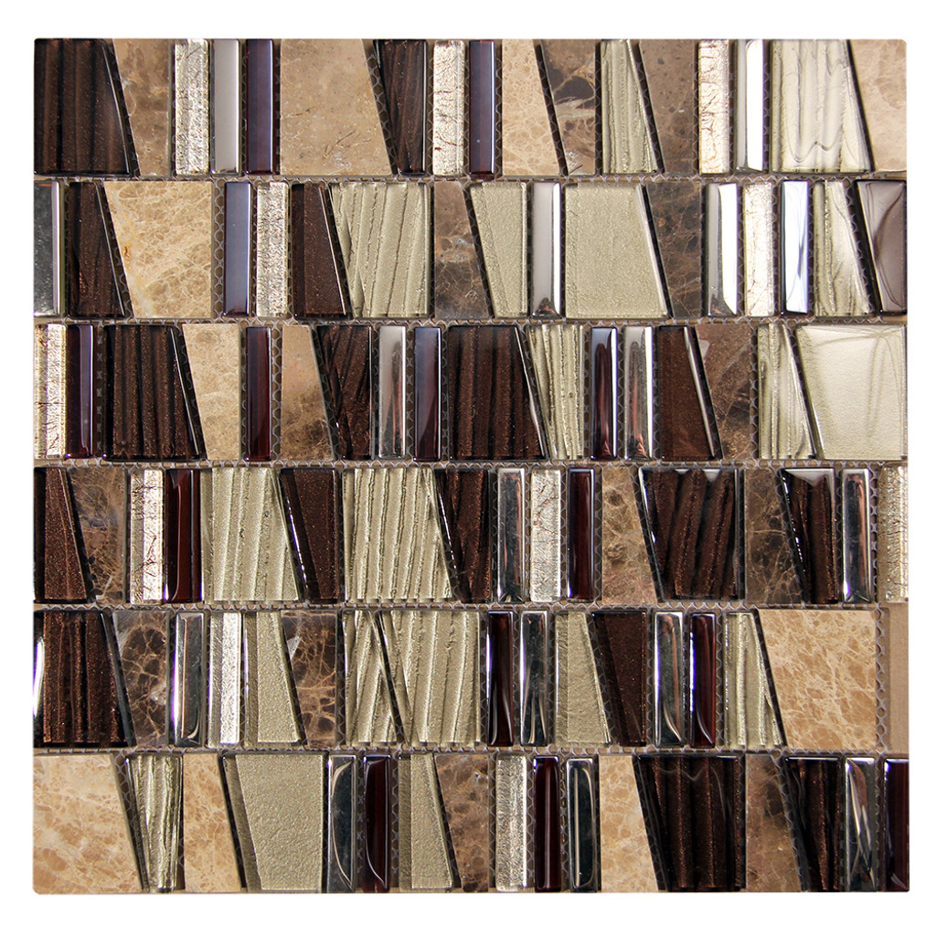 Kappa Emperador Mosaic Glass Tile