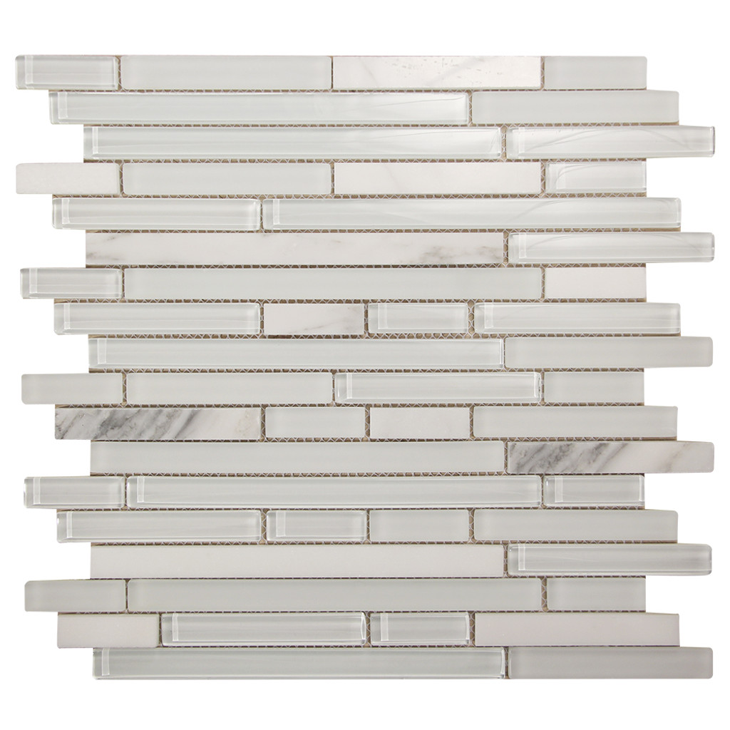 Leto White Mosaic Glass Tile