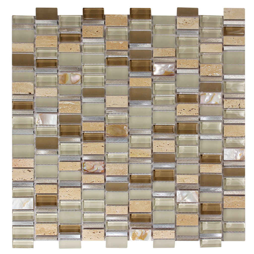 Ole Crema Mix Glass, Metal & Stone Mosaic Tile