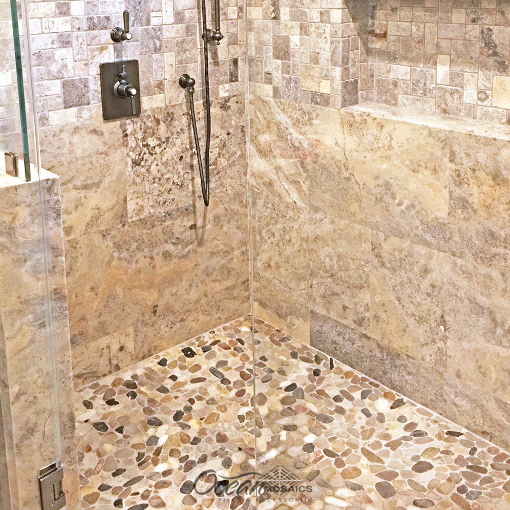 Pebble Stone Sliced Mixed Shower Floor Idea