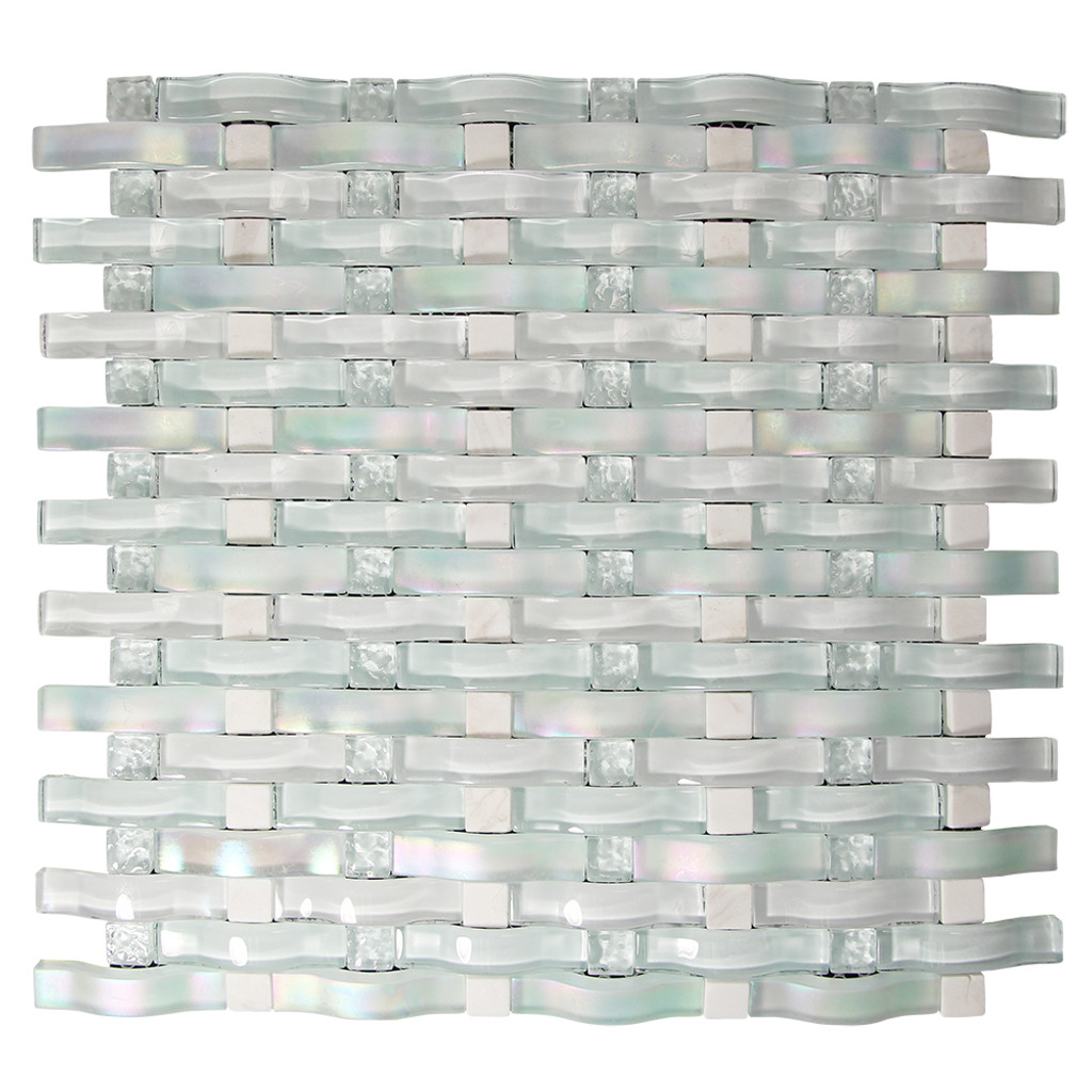 Woven Curved Organza Mosaic Glass Tile
