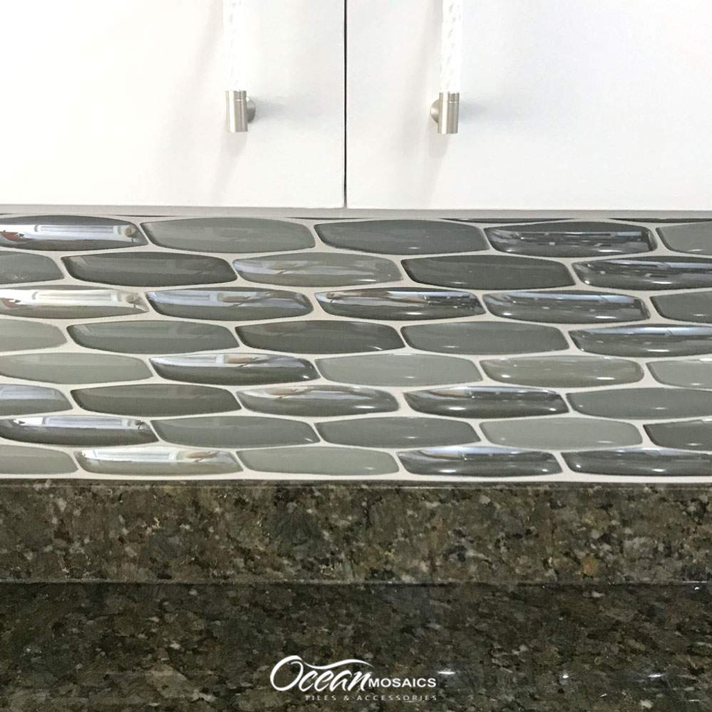 Yves Taupe Glass Tile Kitchen Backsplash
