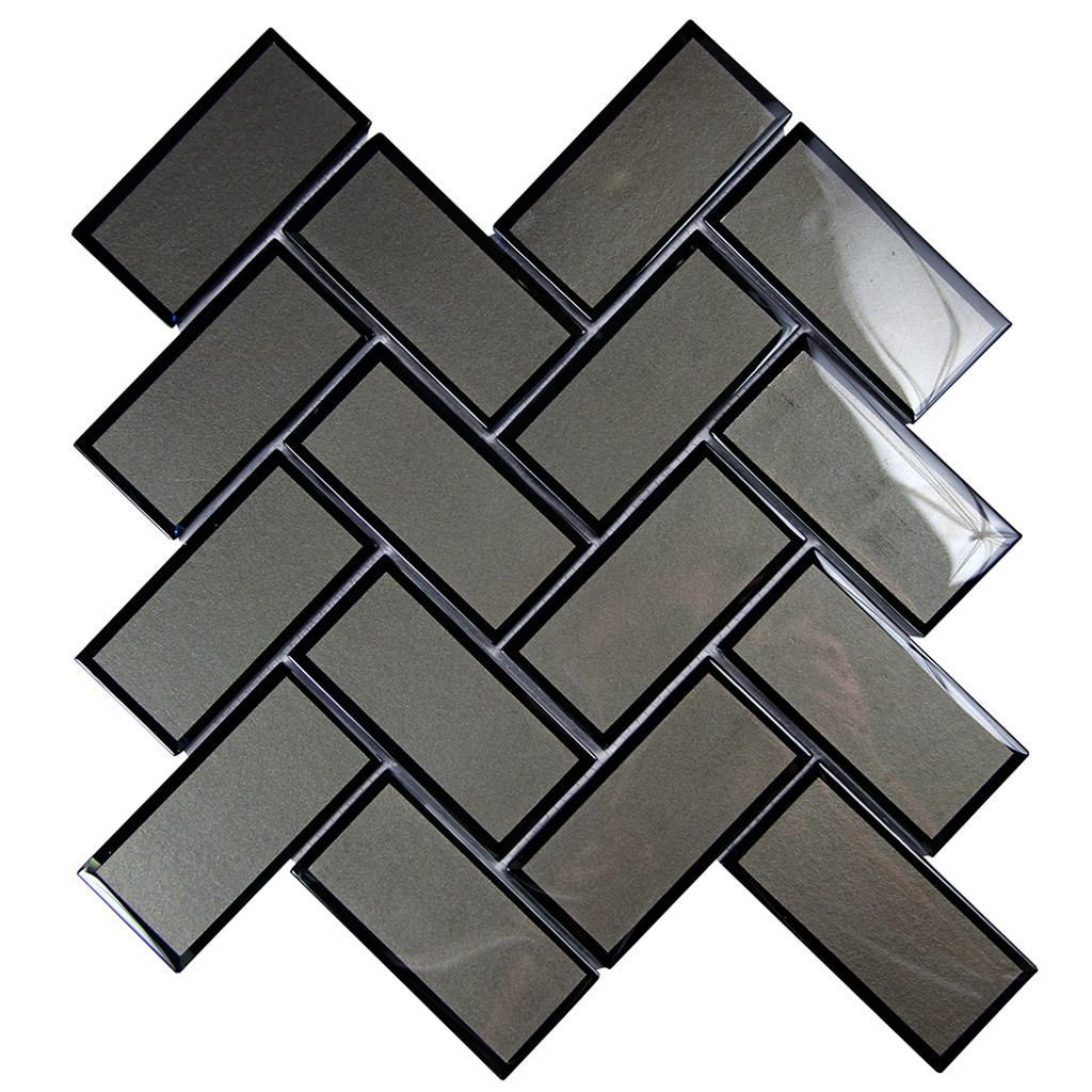 Mirror Charcoal Herringbone Mosaic Glass Tile