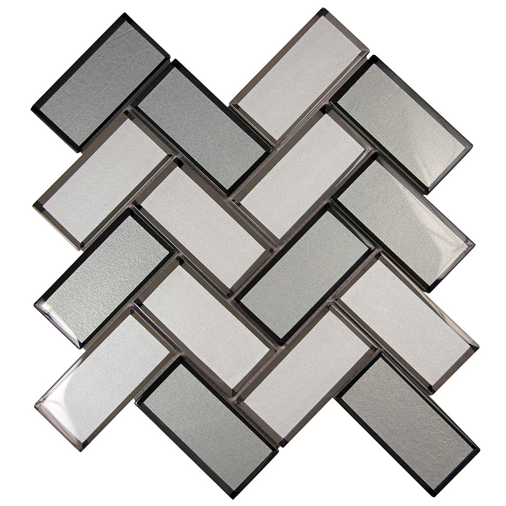 Mirror Mix Herringbone Mosaic Glass Tile