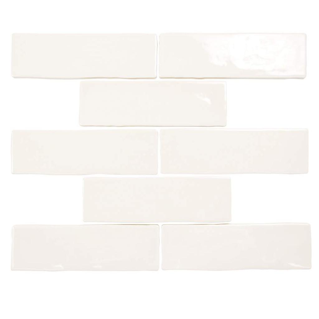 Pastel Off White Glossy 2x8 Porcelain Subway Tile
