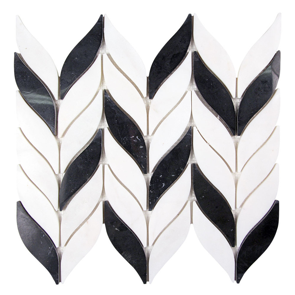 Elegance Black and White Waterjet Marble Mosaic Tile