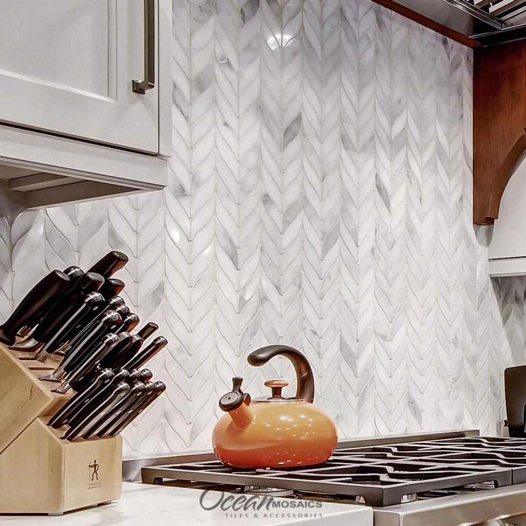 Elegance Carrara Leaf Kitchen Backsplash