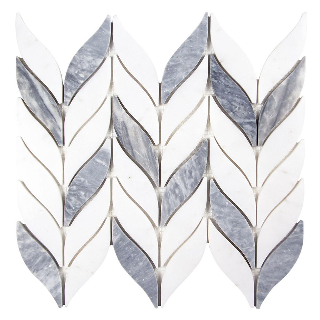 Elegance Grey and White Mix Waterjet Marble Leaf Mosaic Tile