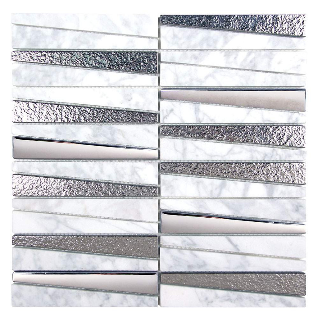 Prestige Carrara Metalized Glass and Marble Tile