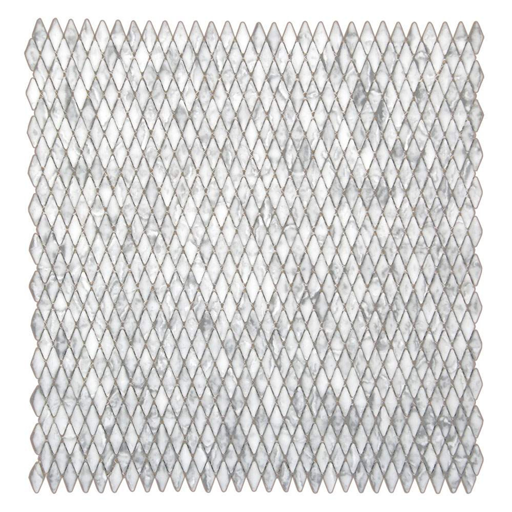 Lux Rhombus Pattern Grigio Recycled Glass Tile