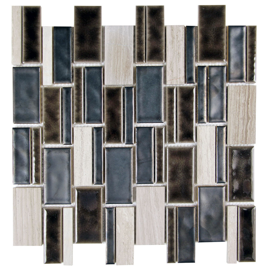 Mirada 73 Matel Black and Grey Ceramic and Stone Tile