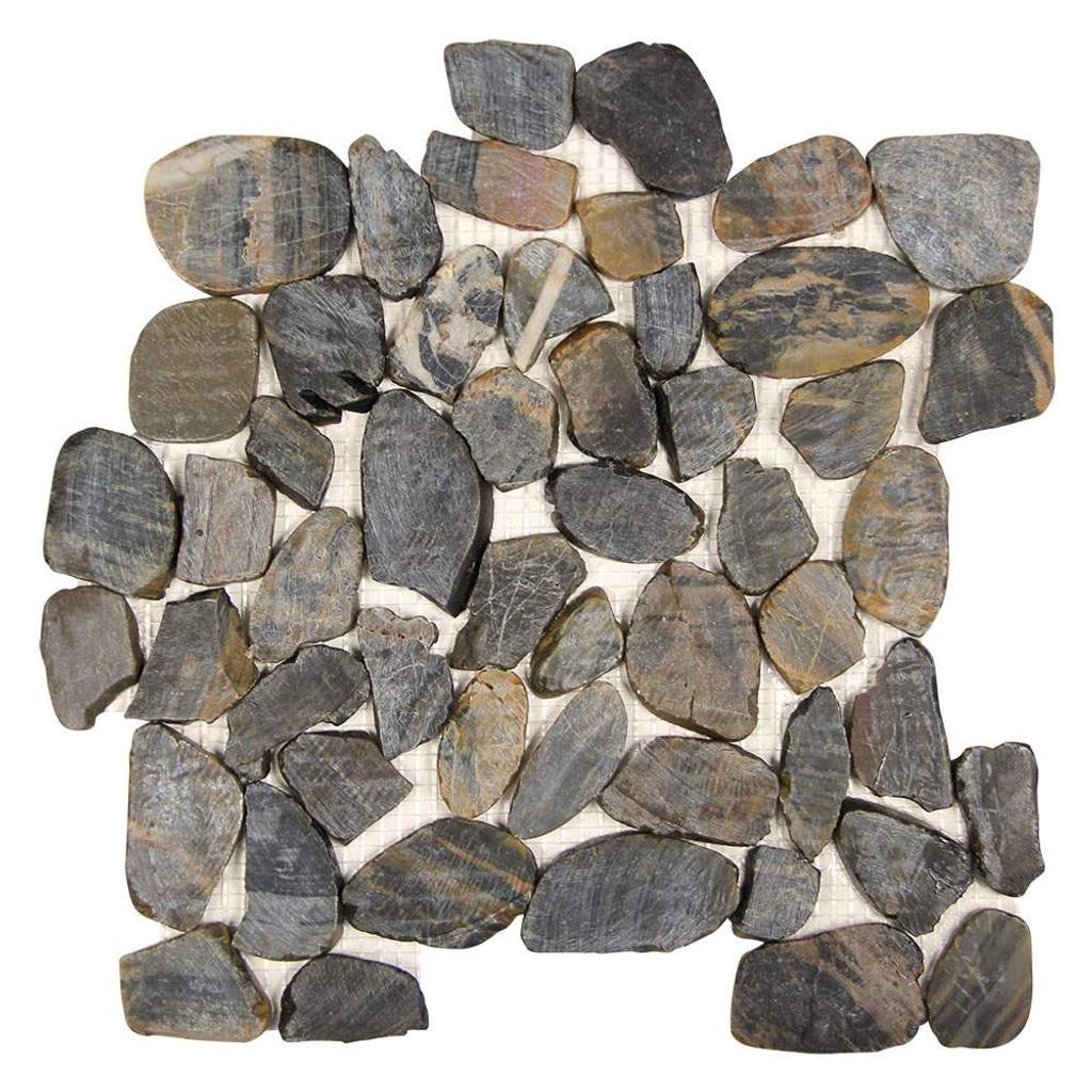 Pebble Stone Sliced Striped Black Tile