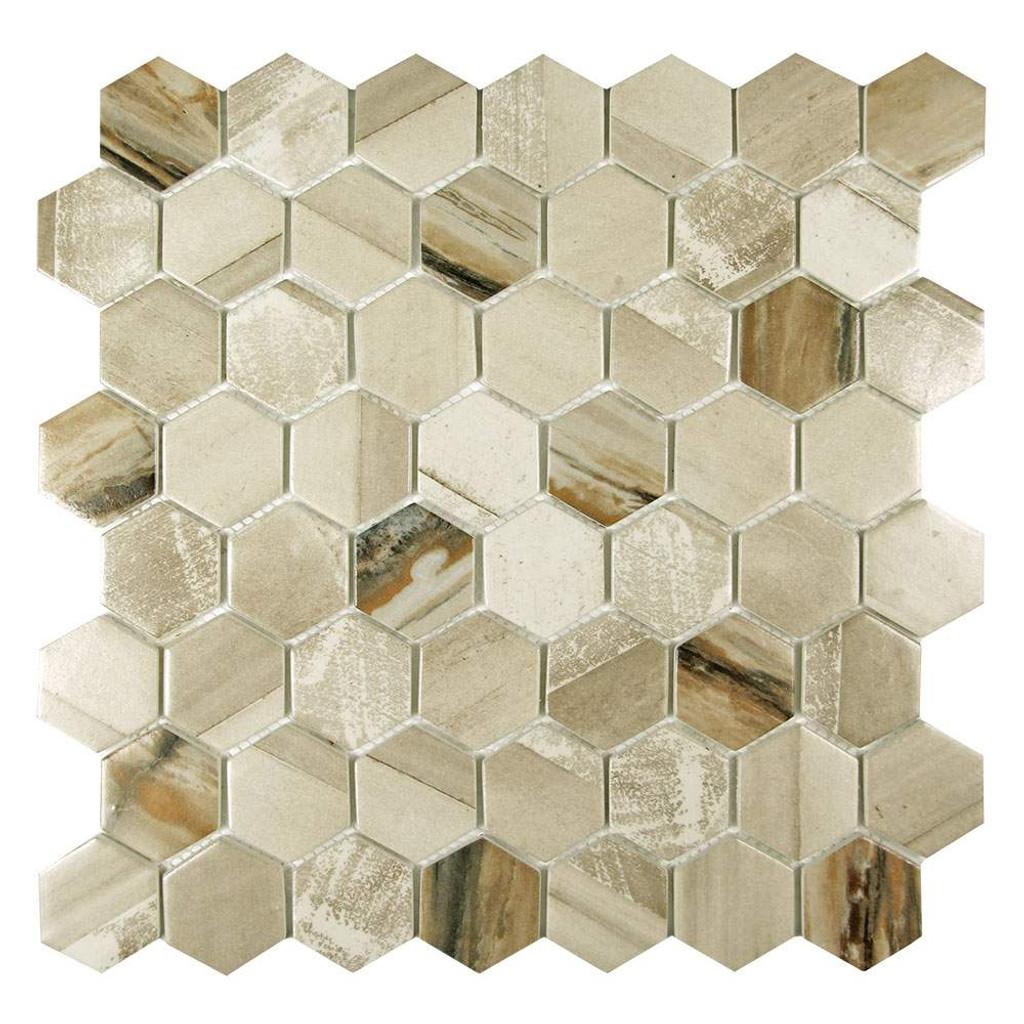 Sixcycle Beige Hexagon Recycled Glass Tile