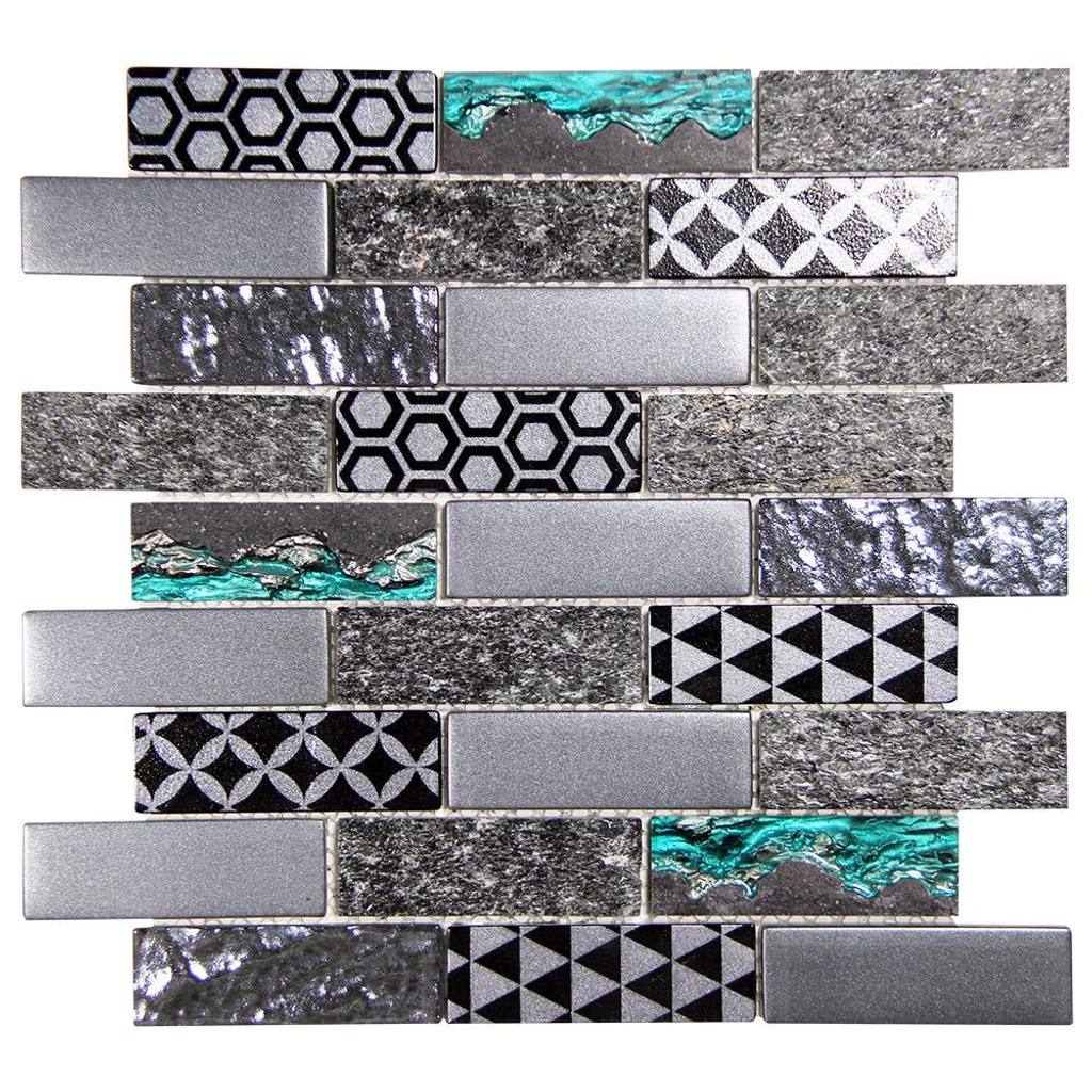 Core Grey Geometric Metallic Glass Tile