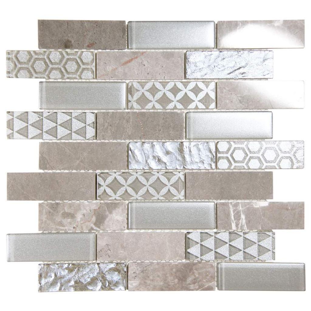 Core Silver Geometric Metallic Glass Tile