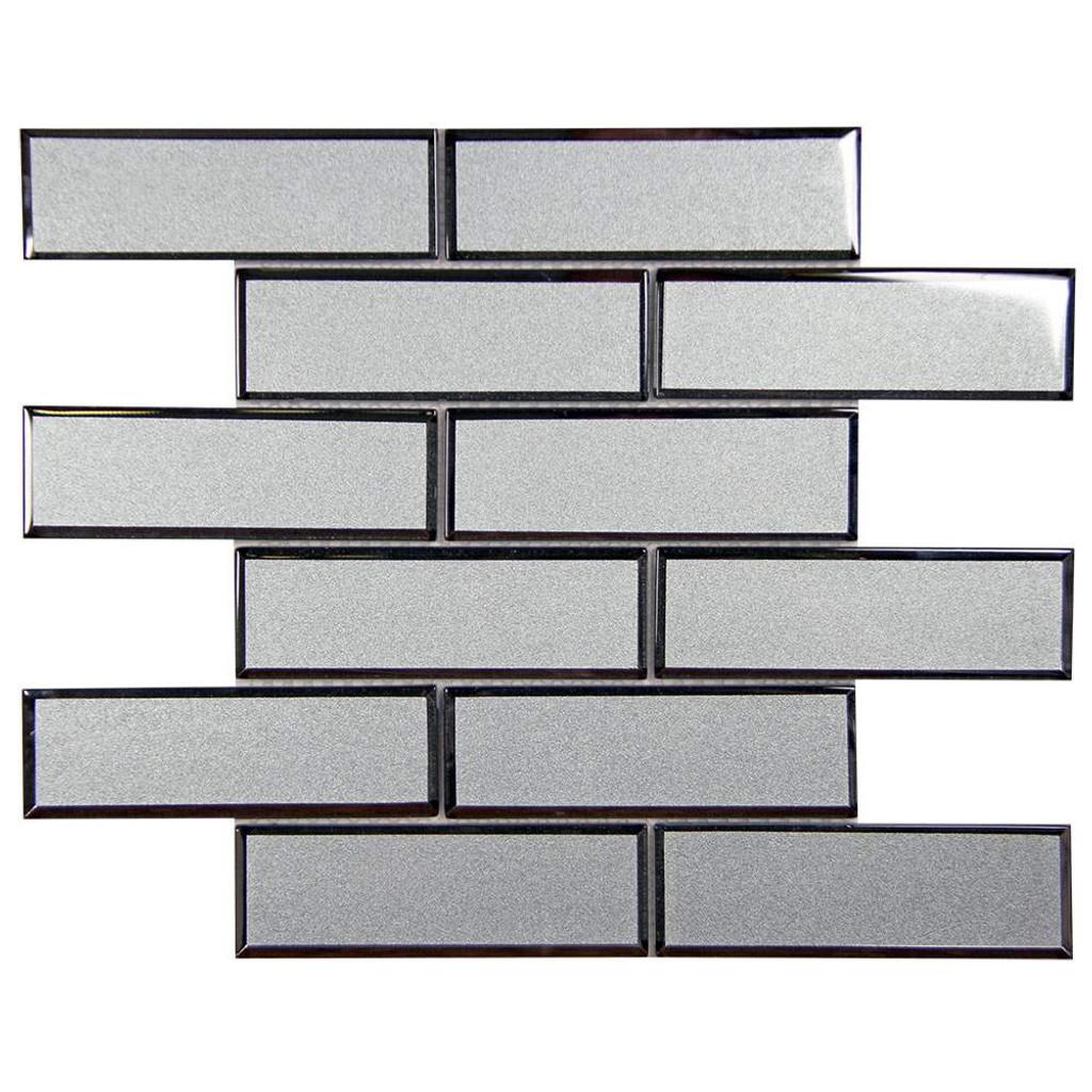 Mirror Linear Grey Beveled Subway Glass Tile