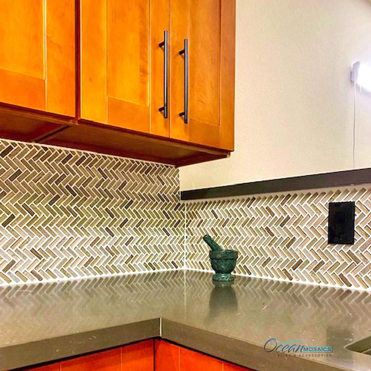 Archery Light Beige Herringbone Mosaic Glass Tile