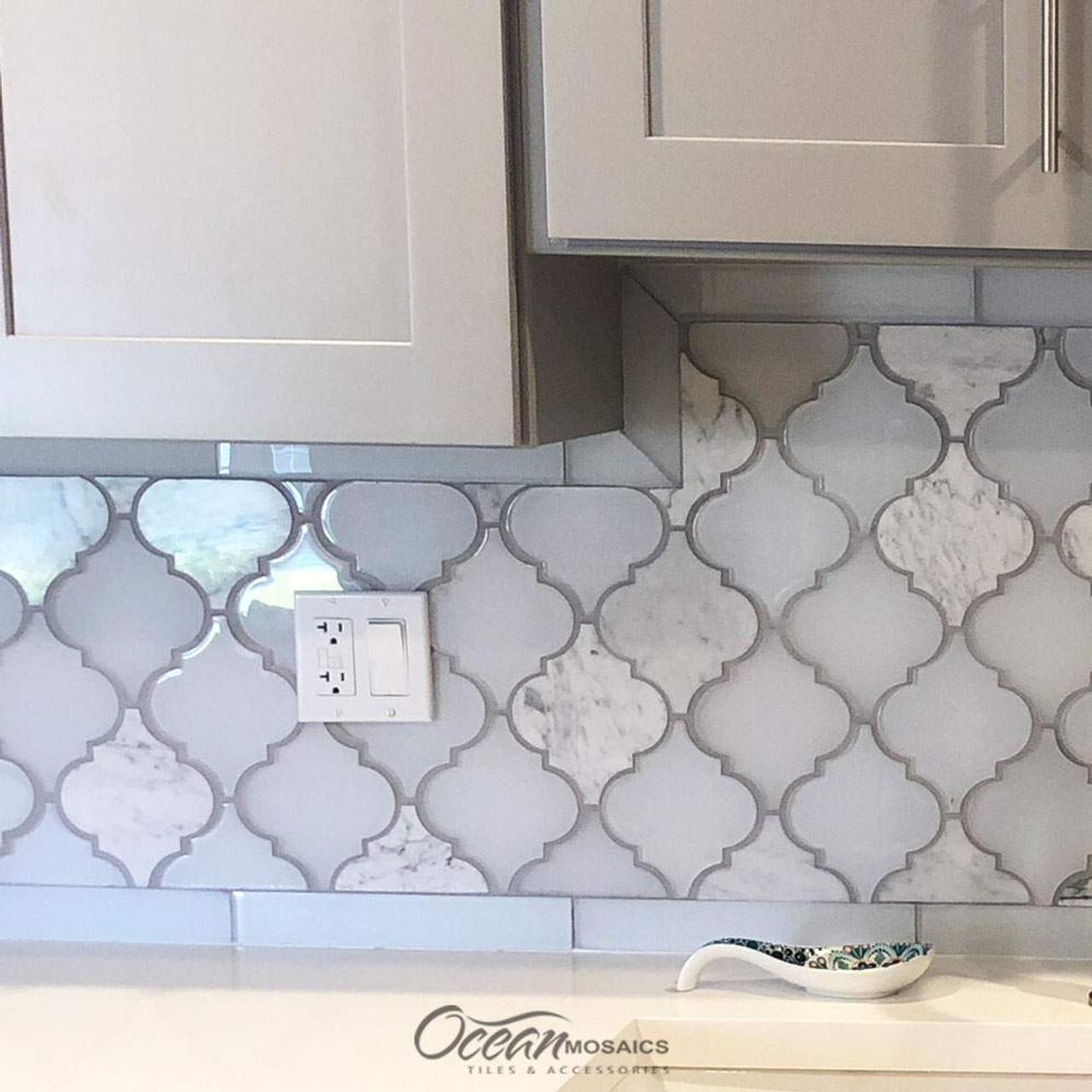 Image of: Clover Arabesque Blanco Mosaic Glass Tile