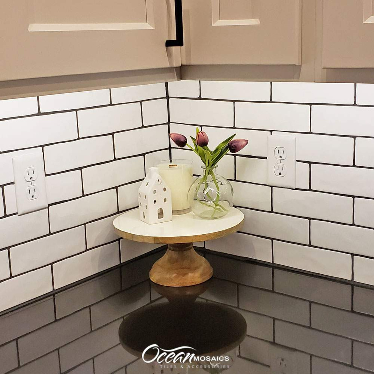 Pastel Buff Beige Glossy 2x8 Porcelain Subway Tile Sample Approximately 3 x 6