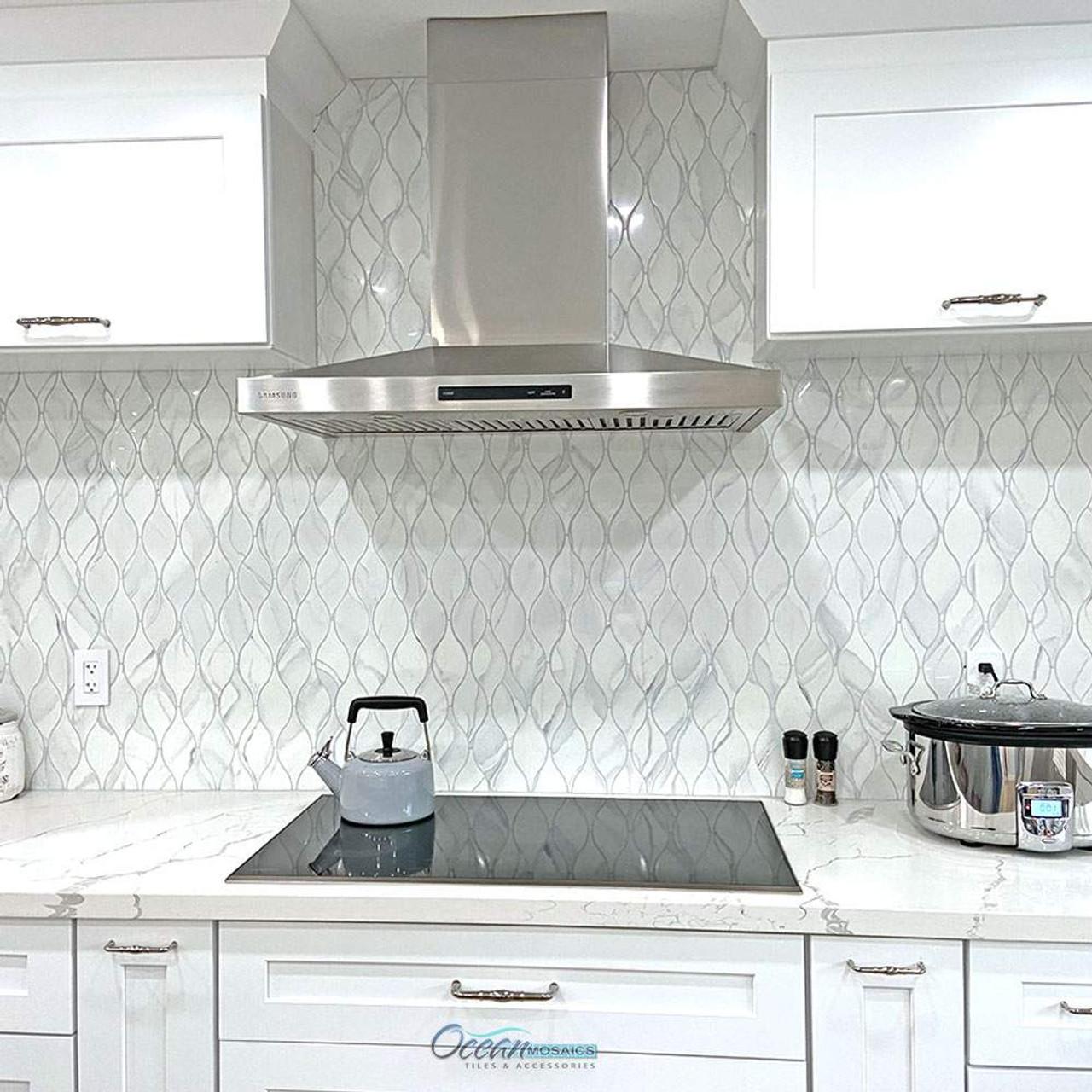 - Calacatta Grey Teardrop Recycled Glass Tile