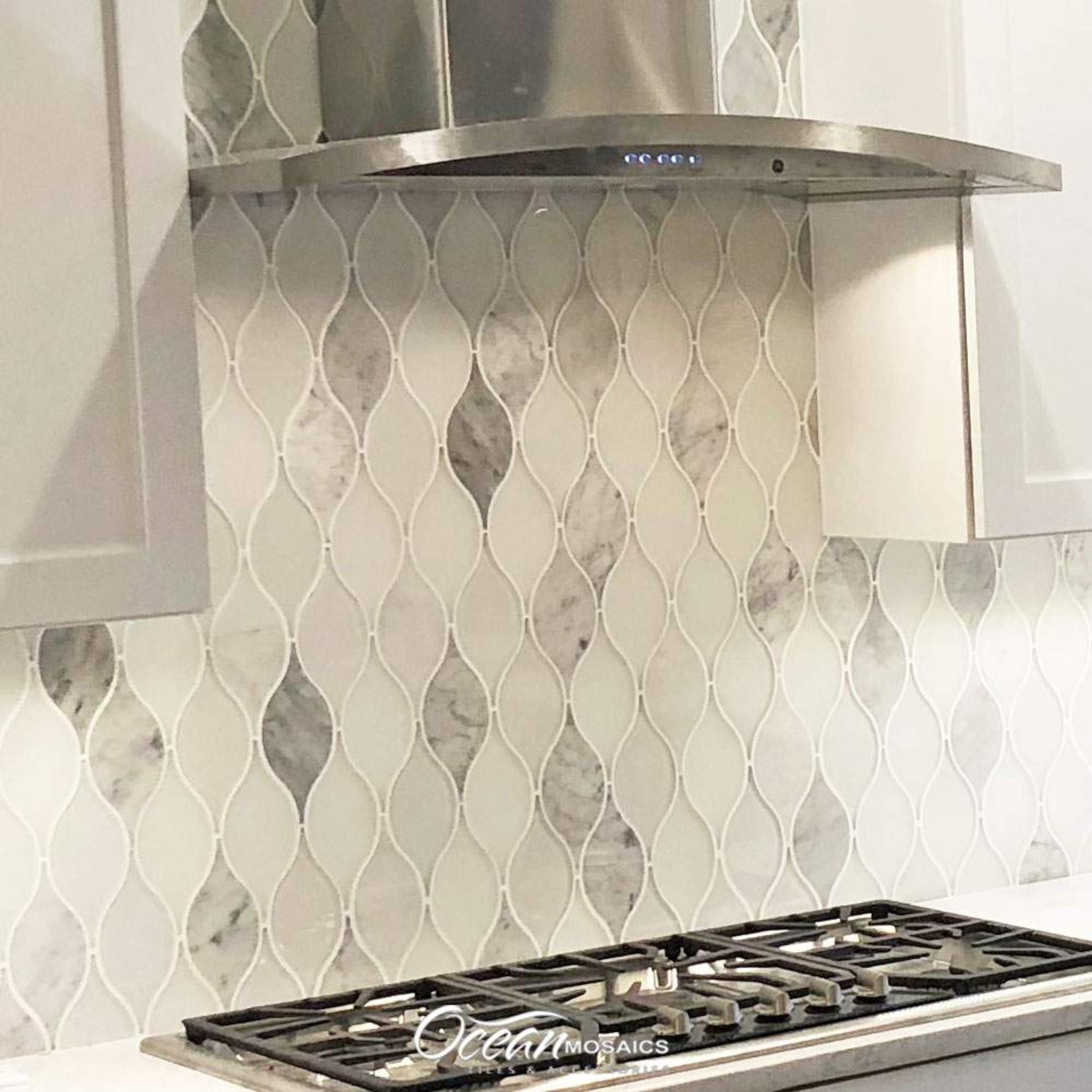 - Chandelier Carrara Teardrop Glass Mosaic Tile