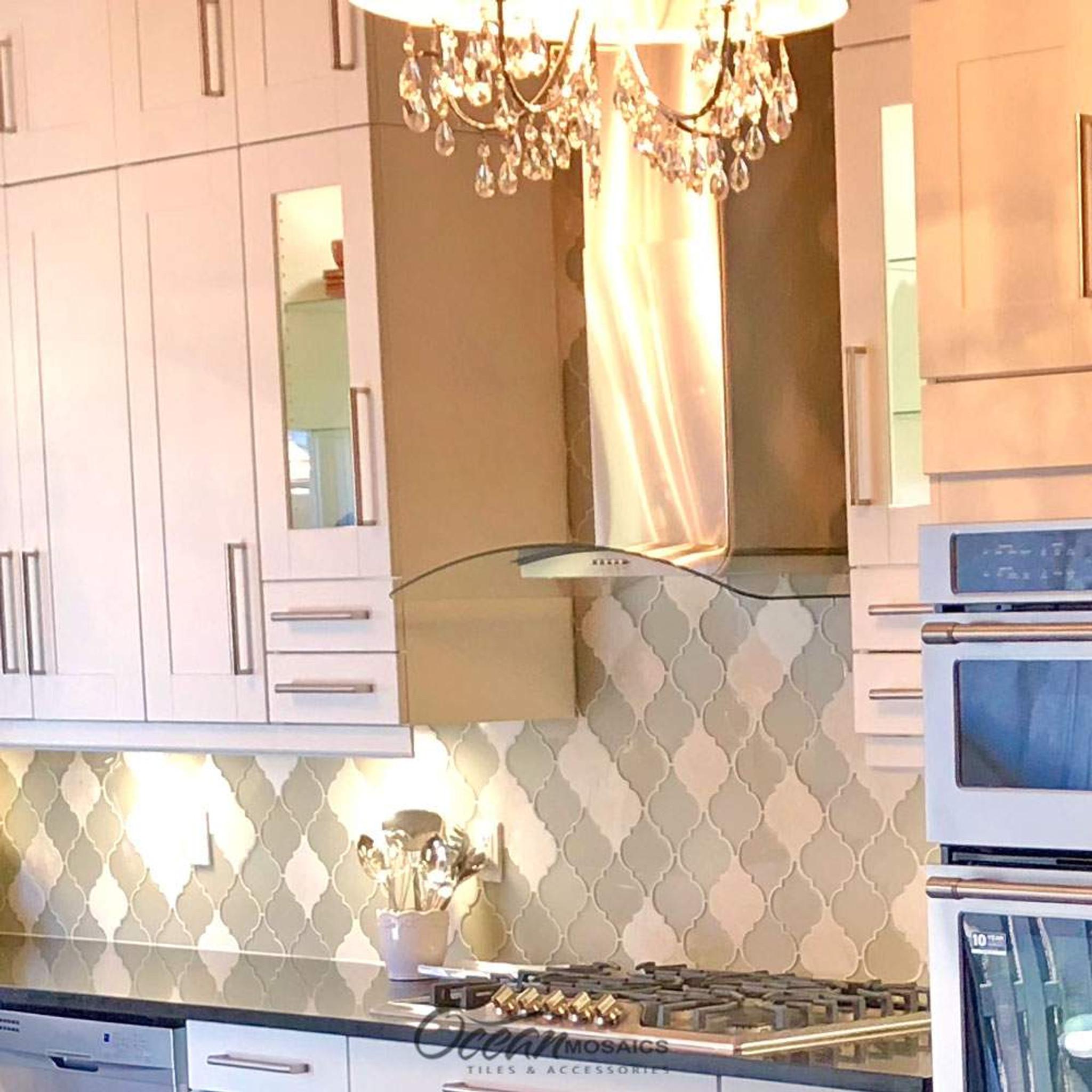 - Clover Arabesque Crema Mosaic Glass Tile