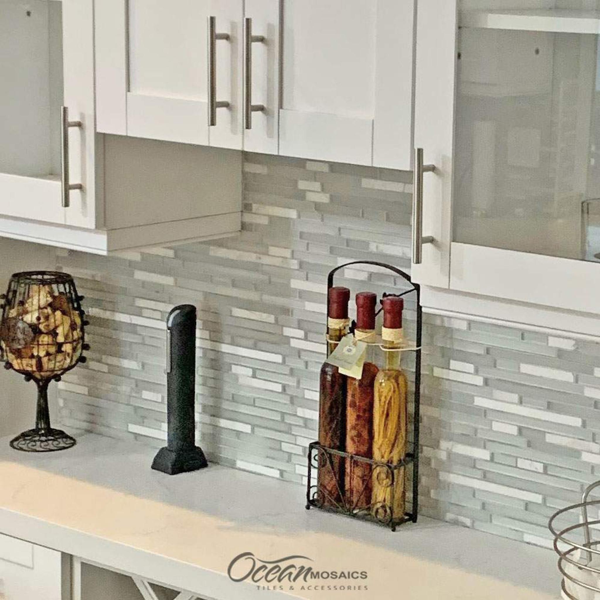 - Leto White Mosaic Glass Tile