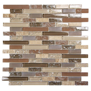 Eros 2 Taupe Mosaic Glass Tile Sample Approximately 3 x 6